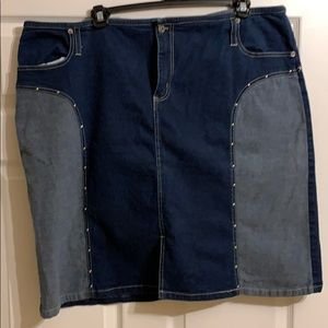 Two-tone blue jean skirt